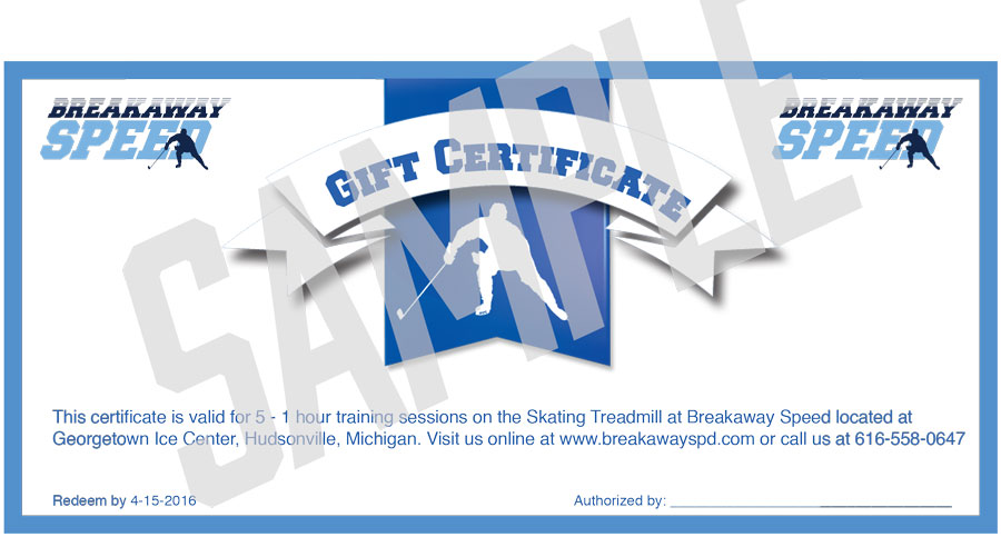 breakaway speed gift certificates