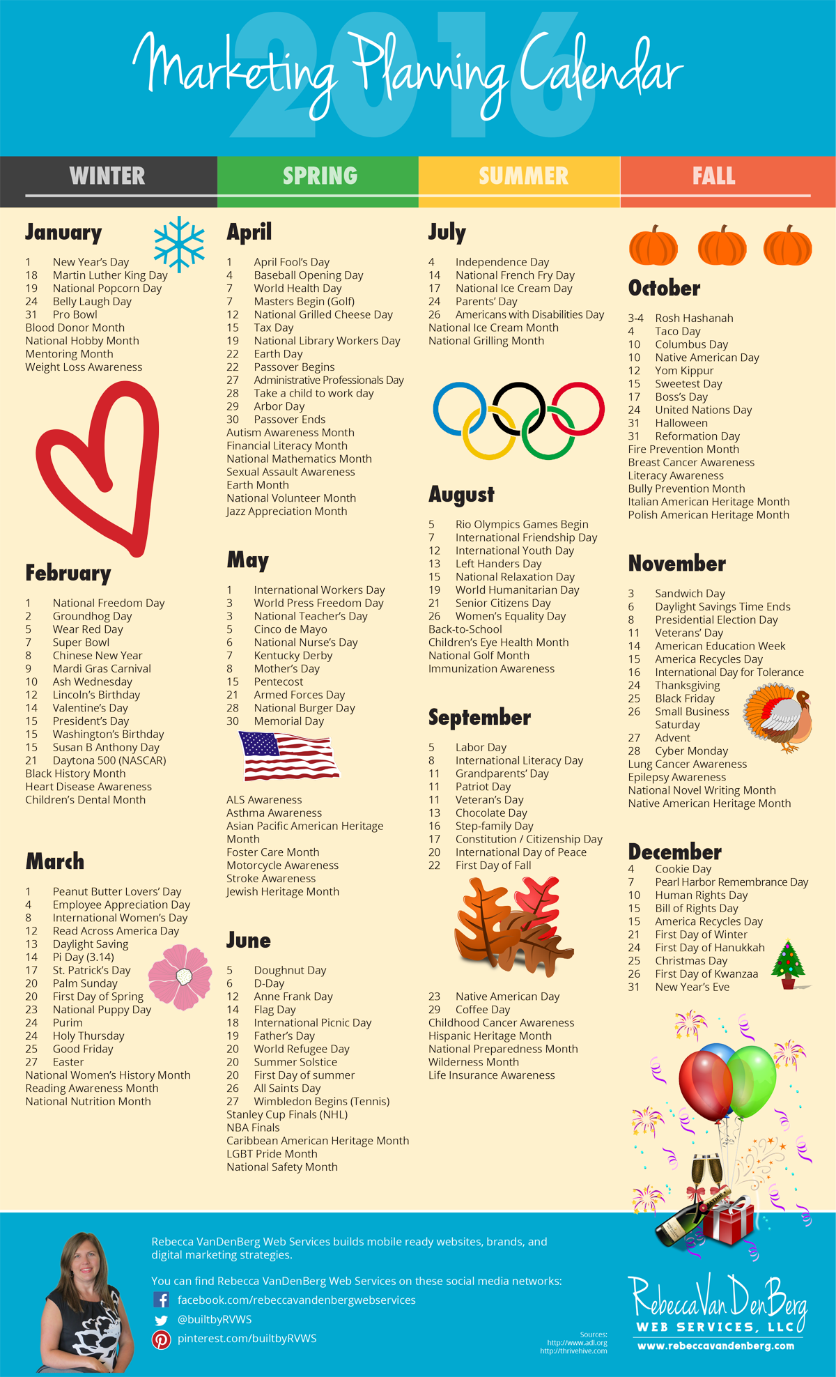Monthly Calendar Of Events Special Days To Celebrate : Marketing planning calendar rebecca vandenberg web
