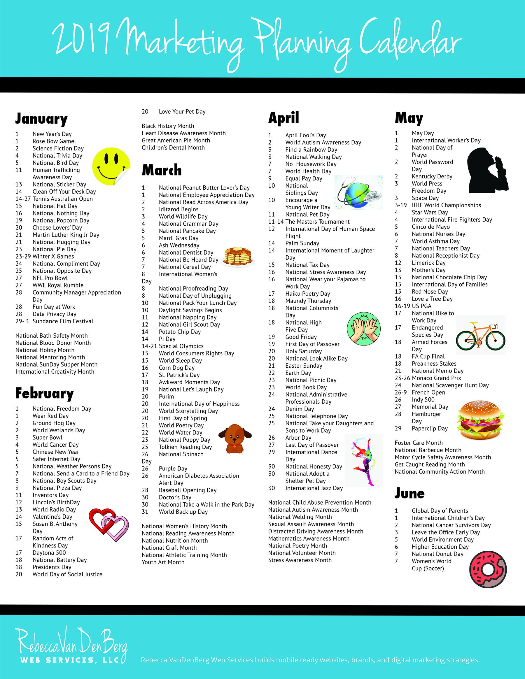 Awareness Month Calendar 2019 2019 Marketing Planning Calendar   VanDenBerg Web + Creative