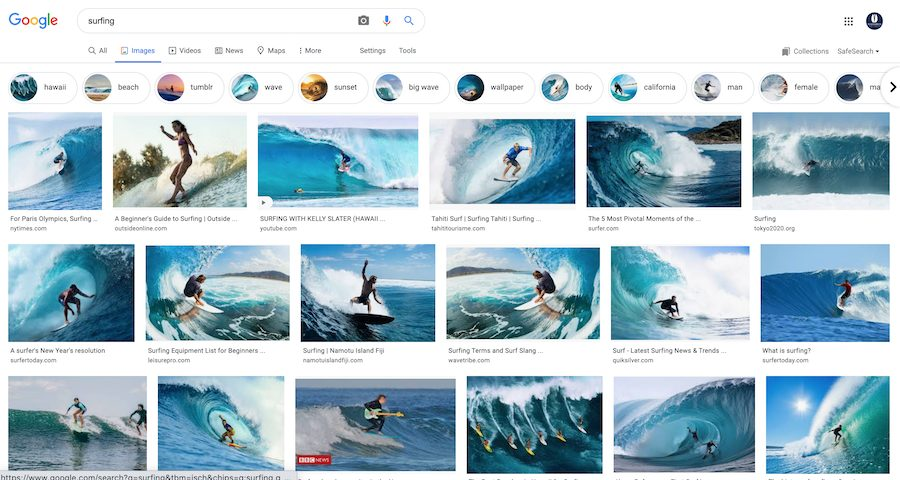 surfing image search on Google