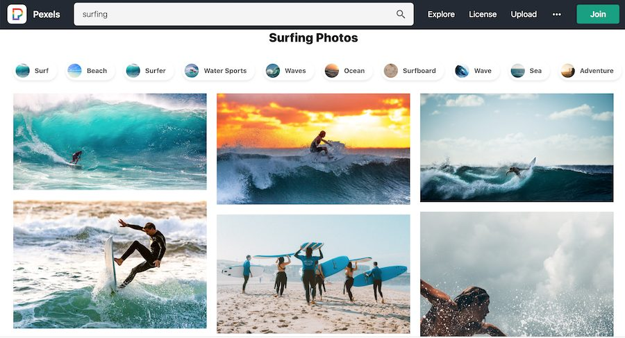 surfing search on PEXELS