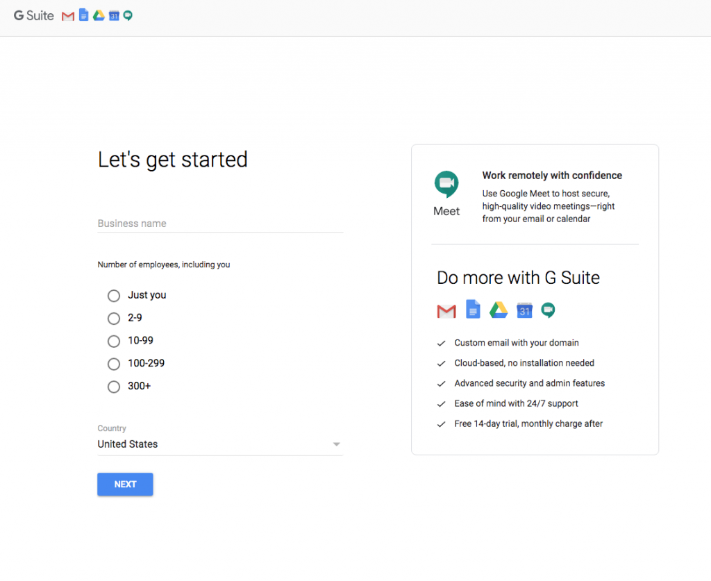 sample business set up gsuite
